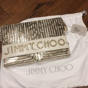 AUTHENTIC JIMMY CHOO SIERRA GOLD CLUTCH NWT